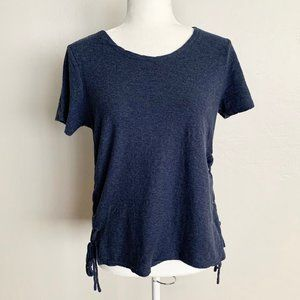 Vince Camuto Navy Blue Side Lace-Up Top Blouse
